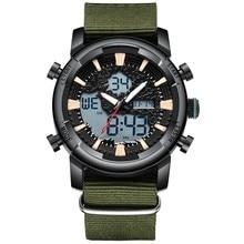 Men Sport Watch Nylon Strap Dual Time Digital LED Military Army Watches Waterproof Casual Quartz Outdoor Clock BIDEN цены онлайн