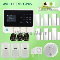 G90B Wireless Wifi GSM Home Security Alarm System Touch Screen LCD Display IOS Android APP Burglar Security Alarm Smoke Sensor