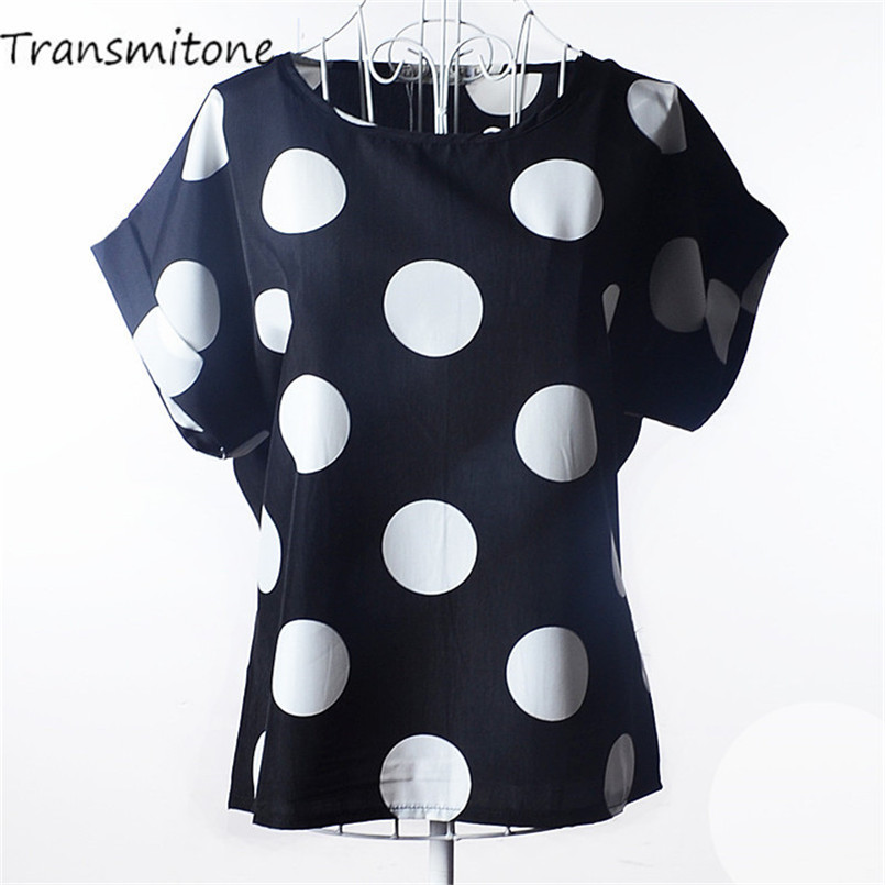 Summer Style Big Dots Women   Blouse   19 Type Large Size Woman Printing   Blouse     Shirt   Short-sleeved Chiffon Blusas Femininas Roupas