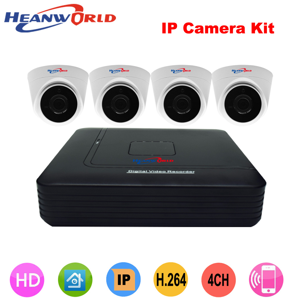 Heanworld H.264 ip camera kit 720p 4pcs hd dome cctv camera 4ch 1080P mini nvr indoor night vision security camera system high resolution 1000tvl night vision indoor cctv security dome camera system