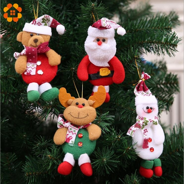 4PCS 4 Types Merry Christmas Doll Tree Pendants Ornaments For Xmas Door Decoration Party Decorations Kids Gifts