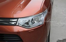 Free Shipping Car Styling Stickers Chromed Front Head Light Cover Trim For Mitsubishi Outlander 2013 2014