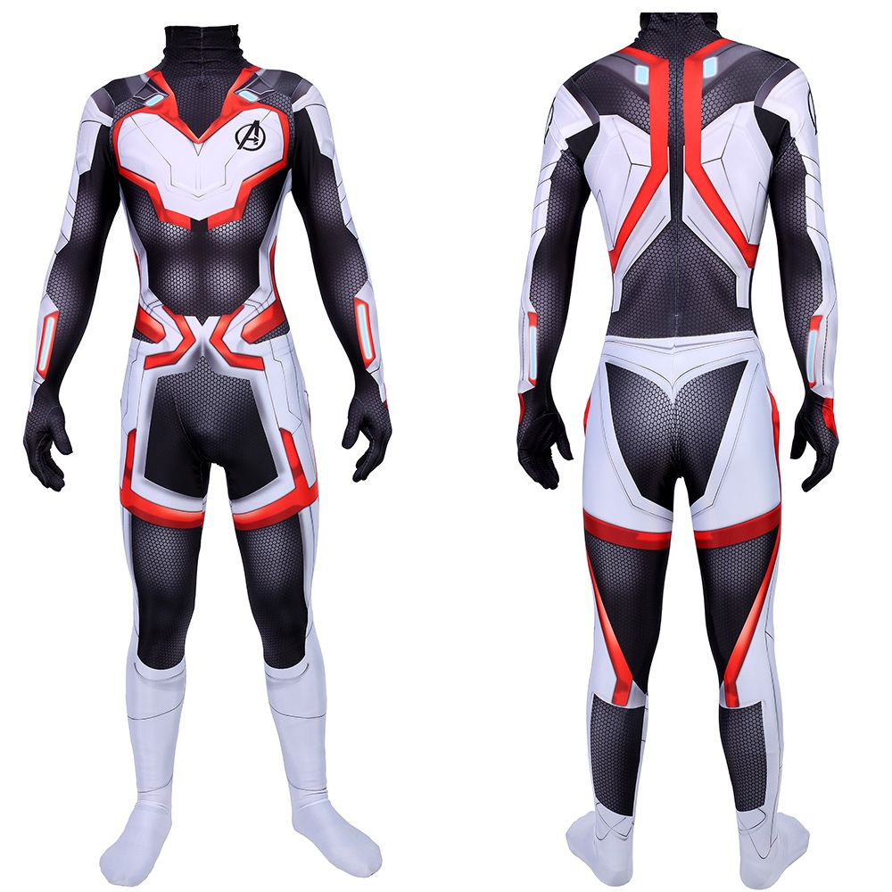 Adults and Kids Avengers Endgame 4 Quantum Realm Cosplay Costume Superhero Captain America Captain Marvel Zentai Bodysuit Suit