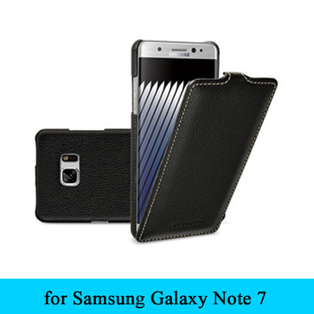 for Samsung Galaxy Note 7 Pure Cowhide Genuine Leather Case Business Style Up Down Flip Phone Cover for Galaxy Note7
