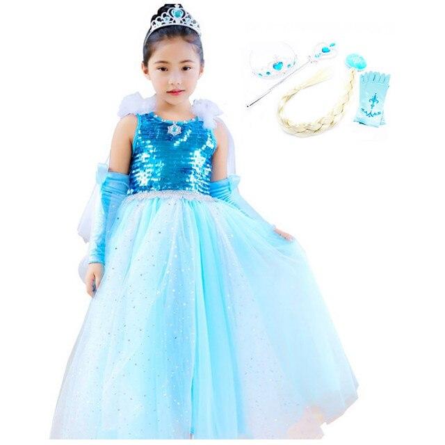 d1d20c5bb81f Girls Princess Elsa Fancy Dress Up Kids short sleeve Sequin Snow ...