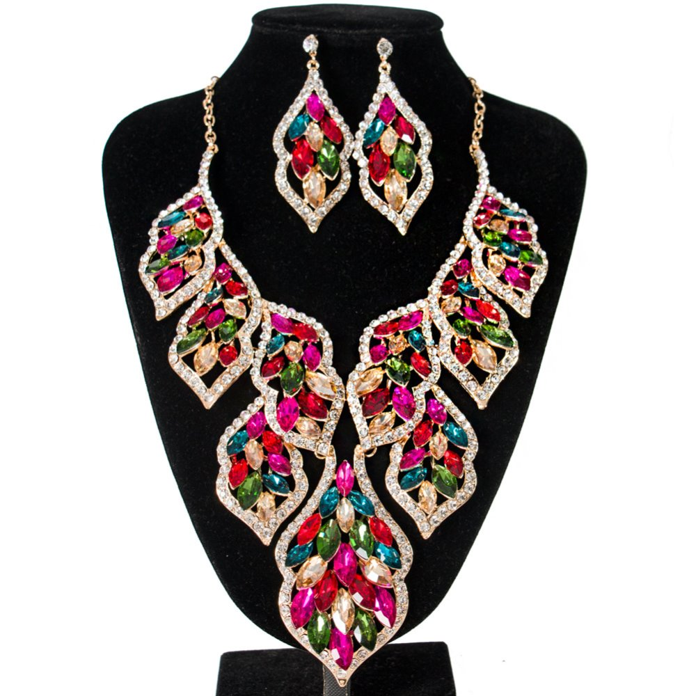 Bridal Jewelry Sets Crystal Rhinestone Gold Color Wedding Necklace and Earrings Sets for Women Trendy Jewelry Sets Accessories a suit of vintage rhinestone artificial crystal necklace ring and earrings for women