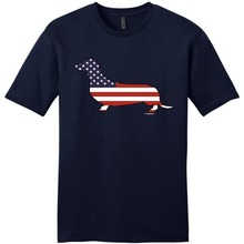 Loose Cotton T Shirts For Cool Tops Crew Neck Design  Doxin Weiner Dog American Flag Young Short Sleeve Men
