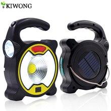 COB Solar Licht Angetrieben Durch Solar Oder USB Kabel Multifunktionale Taschenlampe Taschenlampe Notfall Ladegerät Für Outdoor Camping Jagd