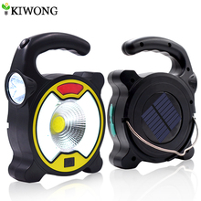 COB Solar Light Powered By Solar Or USB Cable Multifunctional Torch Flashlight Emergency Charger For Outdoor Camping Hunting