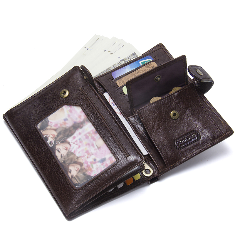 CONTACT'S Top Quality Genuine Cow Leather Wallet Men Hasp Design Short Purse With Passport Photo Holder For Male Clutch Wallets 2
