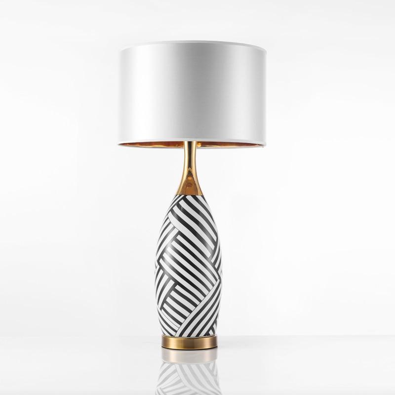Europe zebra stripes ceramic table lamps bedroom bedside decoration light white cloth lampshade study reading lighting E27 light
