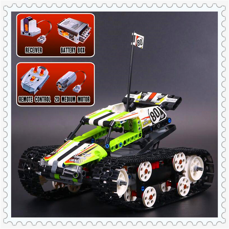 397Pcs Technic Radio Controlled Tracked Racer Model Building Block Toys LEPIN 20033 Gift For Children Compatible Legoe 42065 lepin 22001 pirate ship imperial warships model building block briks toys gift 1717pcs compatible legoed 10210
