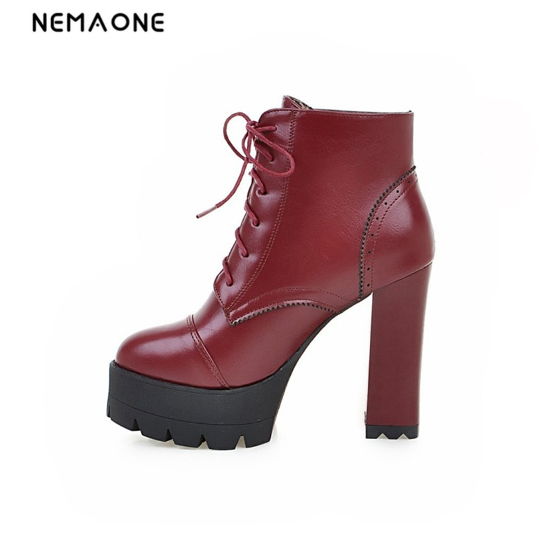 NEMAONE Women Shoes High Heels Autumn Winter Women Boots Lace Up Ankle Boots Zapatos Mujer Botas
