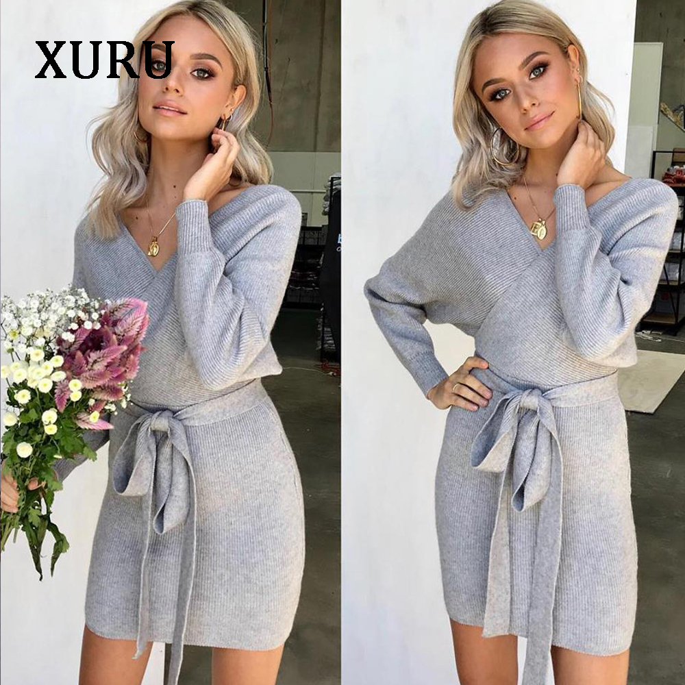 XURU New winter knit sweater womens dress sexy overalls bag hip warm