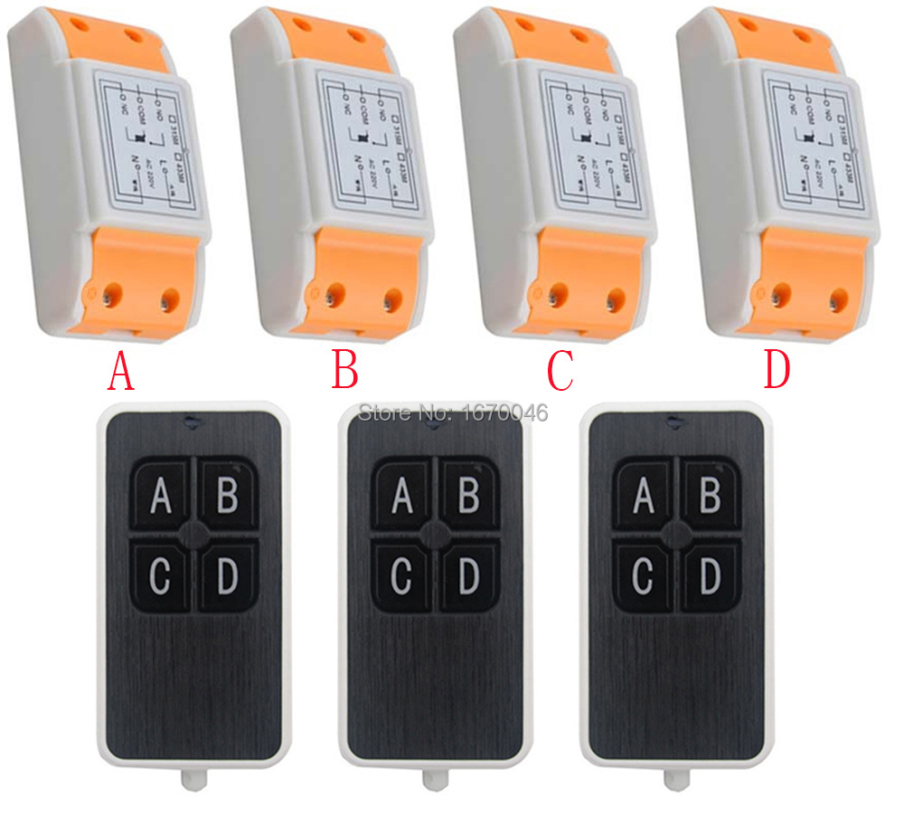 ФОТО New AC220V 1CH 10A wireless remote control switch system 3X Transmitter + 4X Receiver relay smart house z-wave