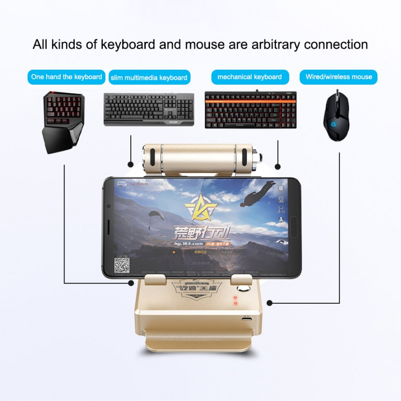 Universal BattleDock Converter Keyboard and Mouse Adapte for PUBG Mobile  games, AoV,Mobile Legends, RoS, Knives Out, Free Fire