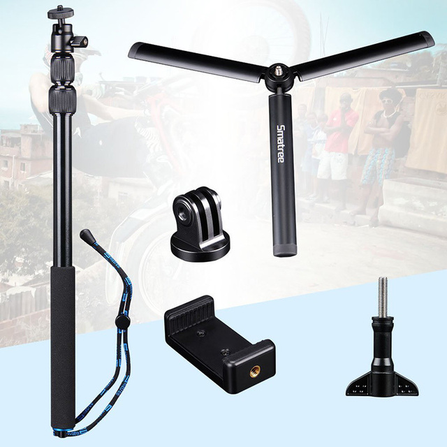 Smatree SmaPole For GoPro hero7/6/5/4/3 Session Cameras Ricoh Theta S Telescoping Selfie Stick Tripod Stand for DJI Osmo Action