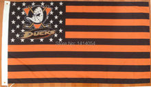 Anaheim Ducks with Stripes And Stars Flag 150X90CM  NHL  3X5 FT Banner 100D Polyester flag grommets 009, free shipping