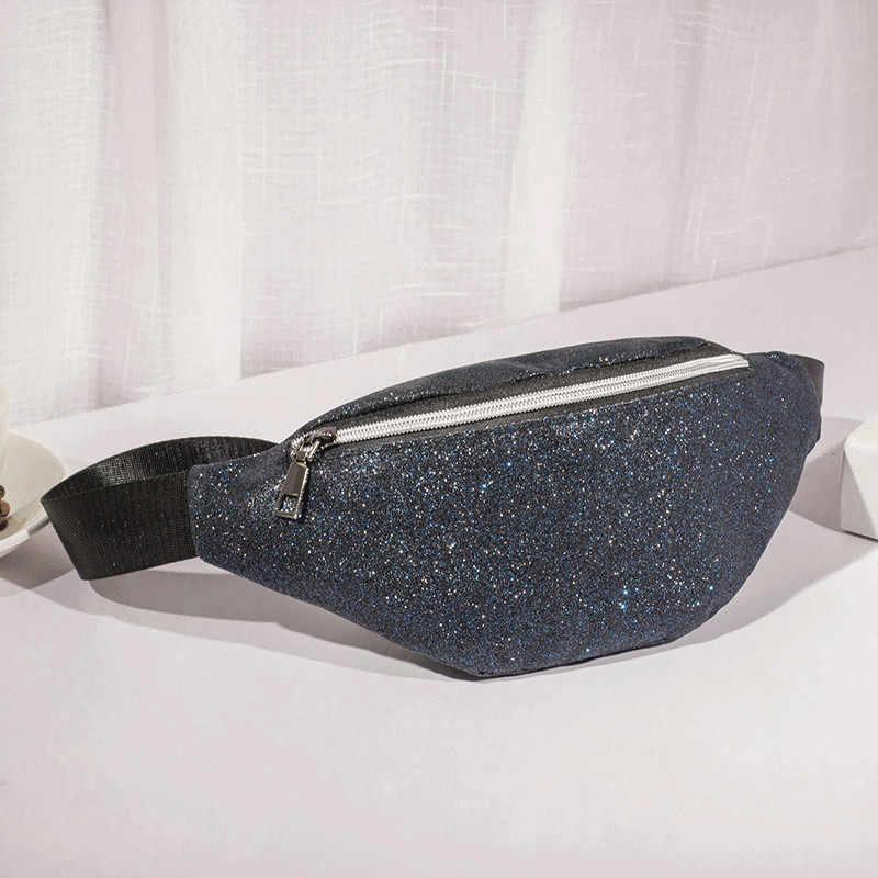 4cf2526922d0 Fashion bling Leather waist packs women Silver mochila cintura waist bag  belt bag men pouch PU