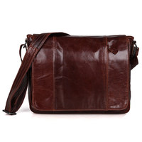 J.M.D Fashion Vintage Cow Leather Messenger Bag Multi Functions Flap Cross Body Bag Men's Simple Solid Shoulder Bag 7338B/7338C
