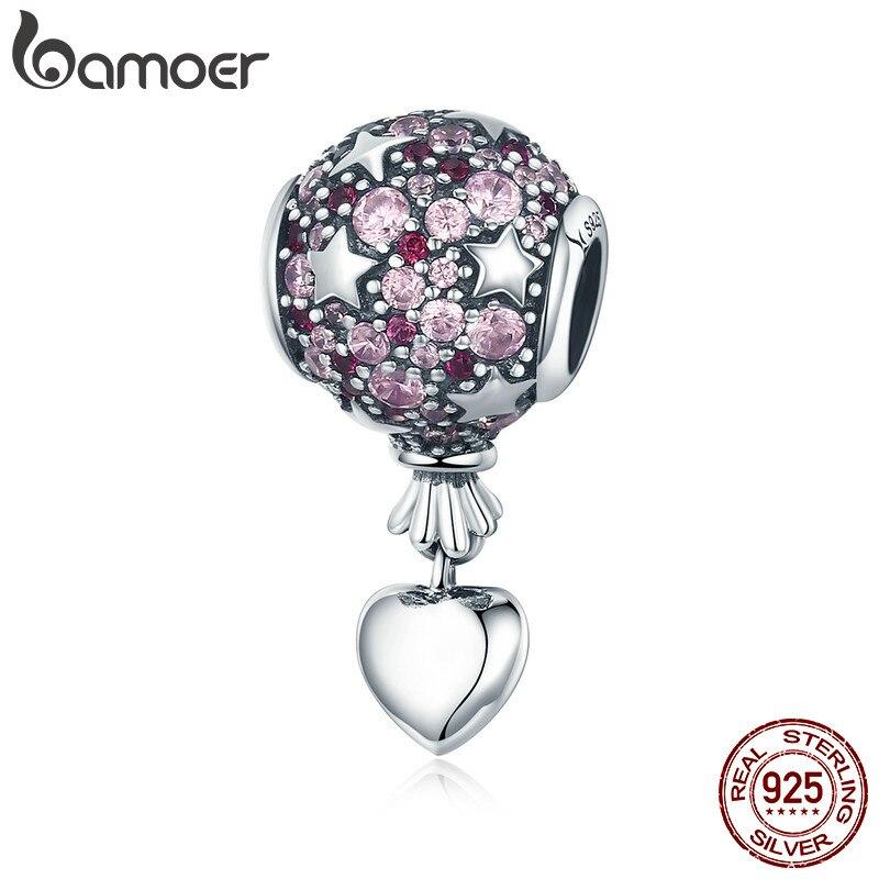 Bamoer autêntico 925 prata esterlina amor romântico balão de ar quente pingente charme ajuste charme pulseira colar jóias presente scc517