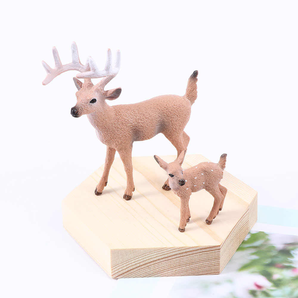 Deer Image Christmas Miniature Doll White Tail Reindeer Model Home Party Decoration Xmas Simulation Education For Kids