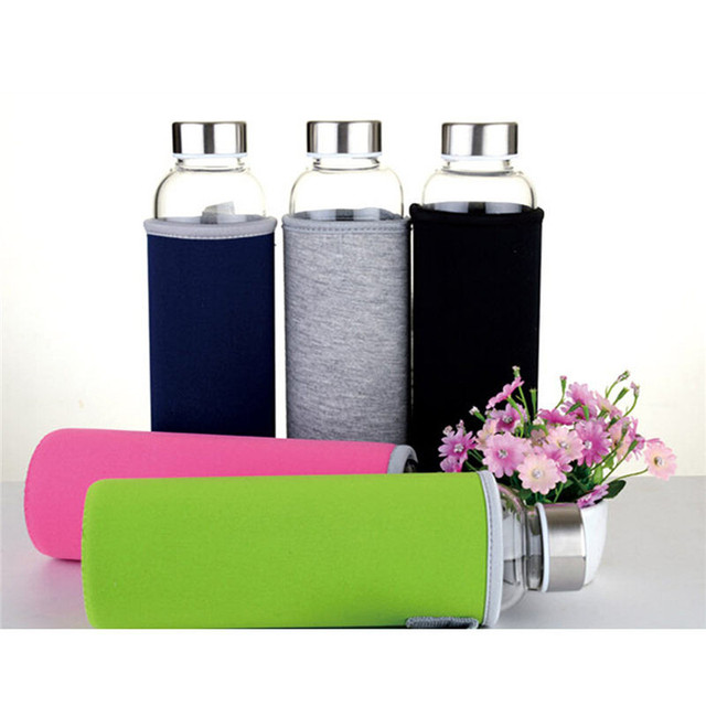 550ml Universal BPA Free High Temperature Resistant Glass Sport Water Bottle With Tea Filter Infuser Bottle Jug Protective Bag 3