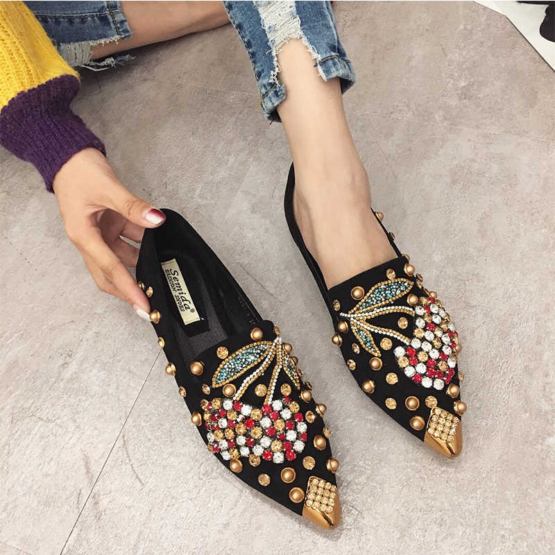 c53645db154 SWYIYV Woman Flats Shoes Rhinestone Cherry 2019 Spring New Female Metal  Pointed Toe Casaul Shoes Comfortable