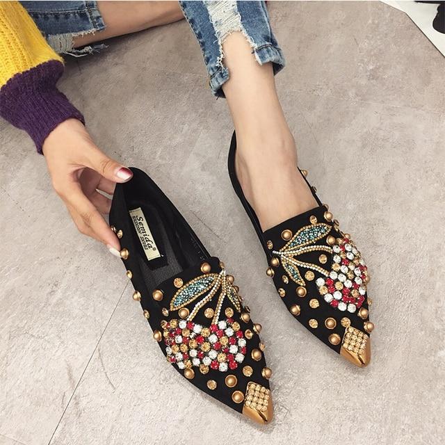 SWYIYV Căn Hộ Người Phụ Nữ Giày Rhinestone Cherry 2019 Mùa Xuân Mới Nữ Kim Loại Nhọn Toe Casaul Giày Thoải Mái Căn Hộ Giày Da Giày