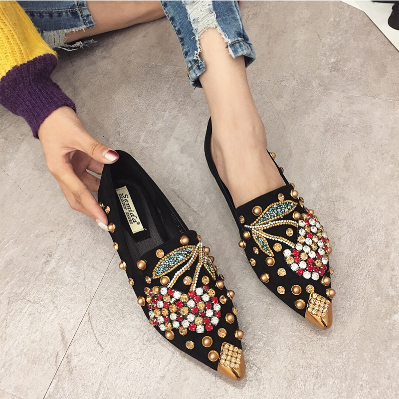 SWYIYV Woman Flats Shoes Rhinestone Cherry 2019 Spring New Female Metal Pointed Toe Casaul Shoes Comfortable Flats Loafers Shoes