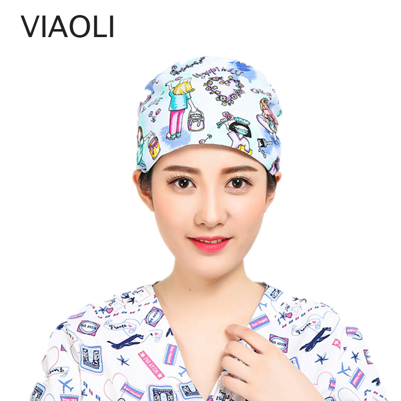 New Arrived Printing Surgery Hat Operating Room Hats Beauty Doctors Work Cap Cotton Pet Doctor Hat Dentist Caps