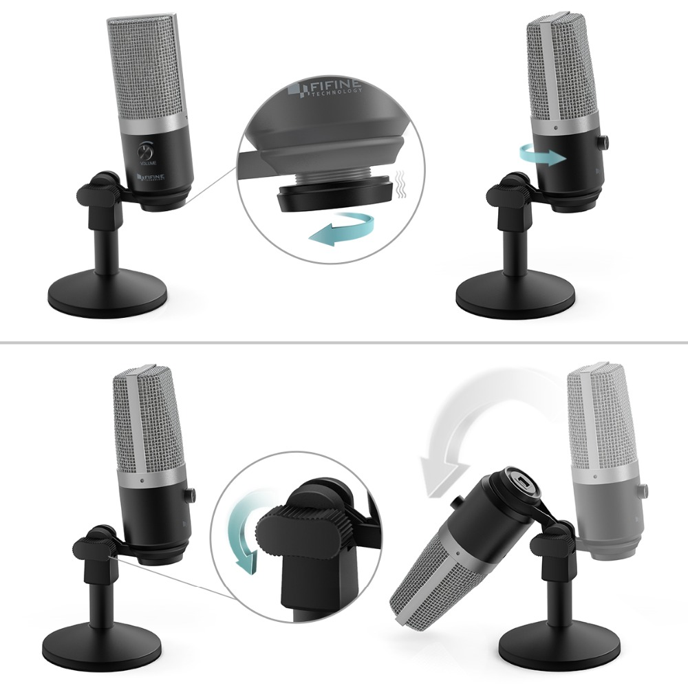 Microphone USB FIFINE pour ordinateur portable Mac et ordinateurs pour l'enregistrement de la voix en Streaming Twitch overs Podcasting pour Youtube Skype K670 - 2