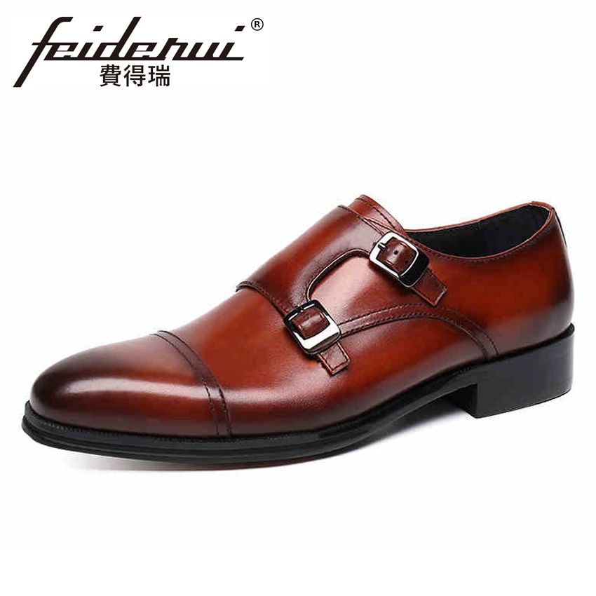 Vintage Genuine Leather Men's Double Straps Monk Footwear Round Toe Handmade Formal Dress Wedding Party Shoes For Man YMX397 цена
