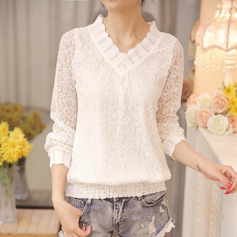 2018 New Arrived Autumn Women Blouse Long Sleeve V Collar Lace Shirt Woman Sweet Temperament Trim Slim Fit Bottom Shirt 30