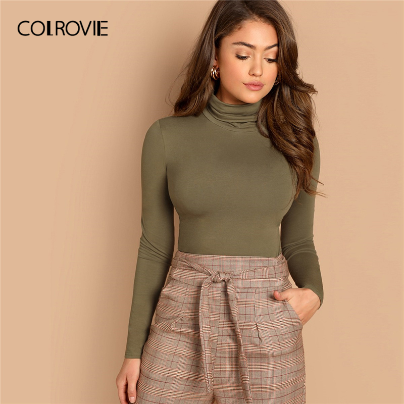 COLROVIE Army Green Solid Slim Fitted Casual High Neck Top For Women 2019 Spring Long Sleeve Basic Shirt Sexy Office Ladies Tops