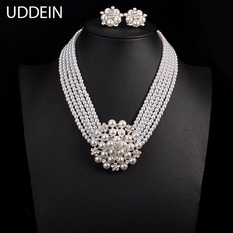 UDDEIN Newest Wedding Bride Necklace Sets Multi-layer Imitation Pearl Chain Big Flower Jewelry Sets Women Statement Necklace