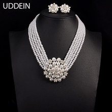 UDDEIN Newest Wedding Bride Necklace Sets Multi-layer Imitation pearl Chain Big Flower Jewelry Sets Women Statement Necklace(China)