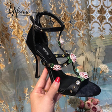 YIFSION New Black Red Silk Floral Women Summer Sandals Sexy Open Toe Buckle Strap Thin High Heel Sandals Party Shoes Woman black red green pink thin belt ankle strap high heel sandals for women ladies solid open toe super high metal thin heel sandals