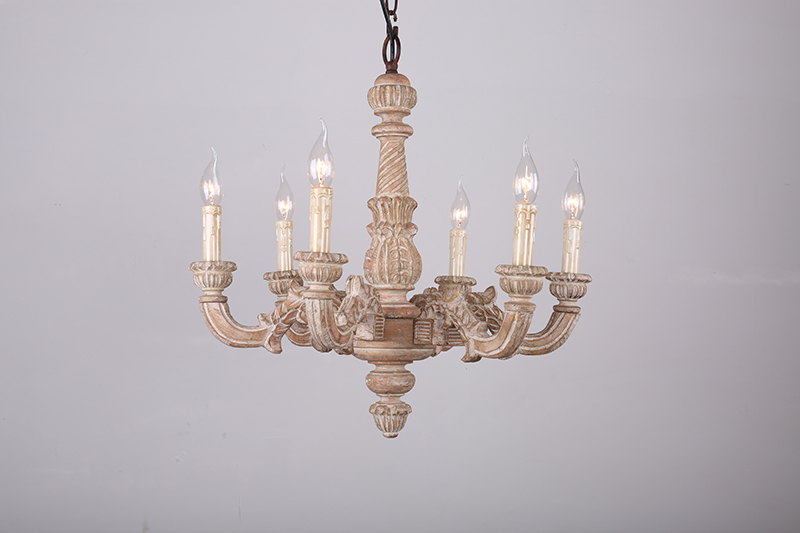 American Country Wooden Chandelier Light French Dining