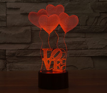 หัวใจรักลูกโป่งSensorพากลางคืนแสง3D Luminariaโคมไฟโรแมนติกห้องนอนบรรยากาศกลางคืนตกแต่งวันหยุด