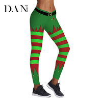 DANENJOY 2018 Christmas Tree Stripes 3D Printed Women Yoga Pants Sports Fitness Tights Slim Pencil Leggings