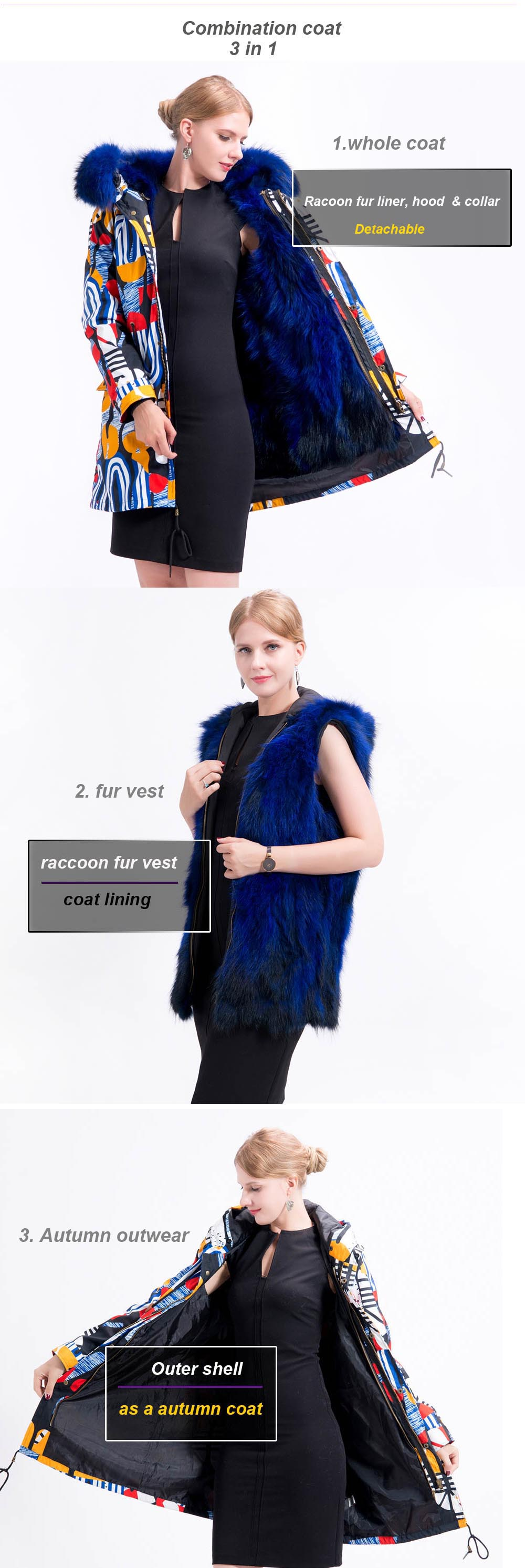 real fur coat 3in 1