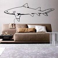 DCTOP גודל גדול כריש לבן גדול מדבקות קיר רקע ספת מדבקות קיר סלון עיצוב הבית ויניל אמנות קיר