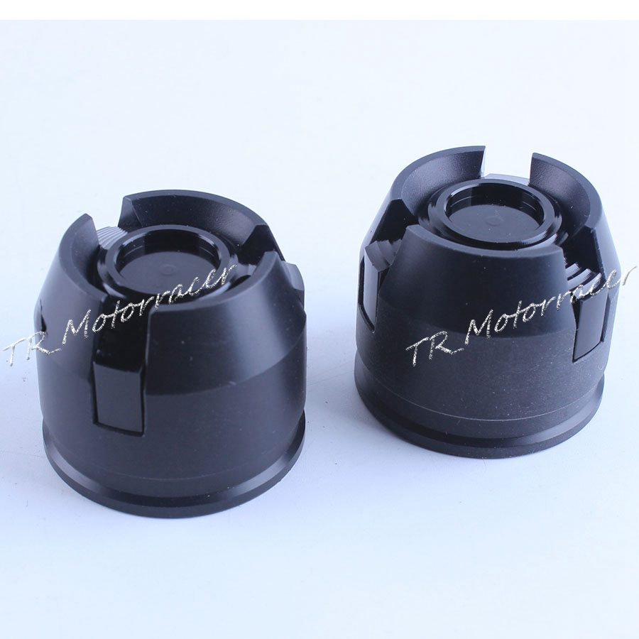 For 12mm Front & Rear Rim Wheel CNC Aluminium Crash Slider Frame Fork Protector Caps Motorcycle Parts Black