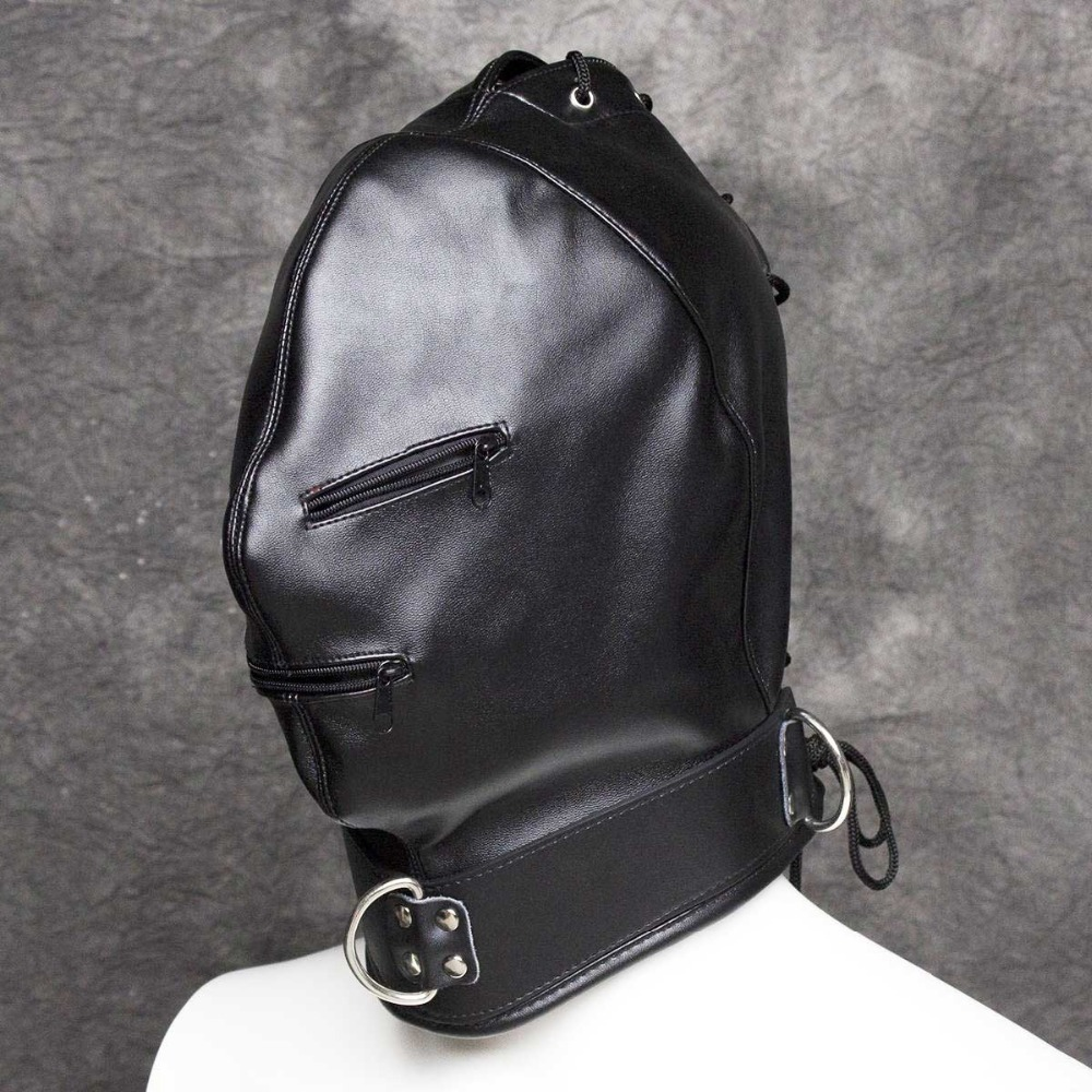 Kinky Soft PU Leather Full Head Bondage Executioner Hood Mask with Eyes and Mouth Zipper Fetish Cosplay Costume