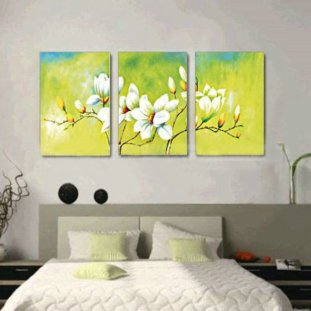 3 panel wall art Modern abstract white orchid flower hand painted ...