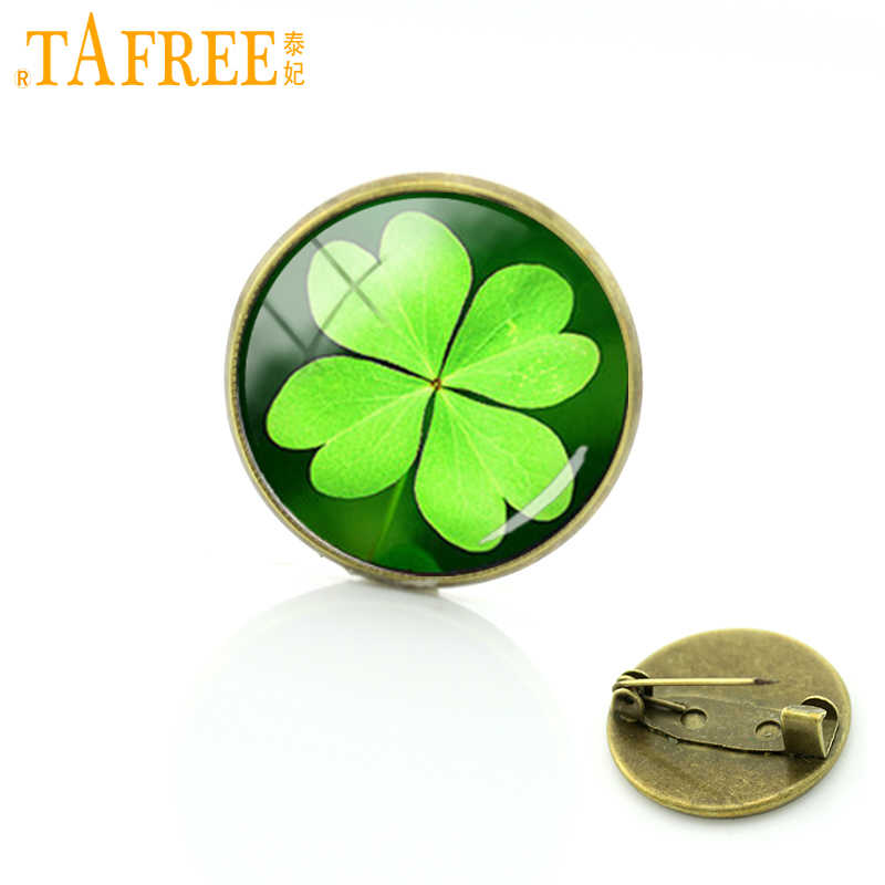 TAFREE fashion four leaf clover pin plant beautiful flower Art Picture Glass Cabochon badge women wedding jewelry brooch T673