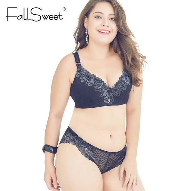 9629c81c0a FallSweet D E Cup Push Up Bra Set Plus Size Women Lace Lingerie Set  Underwire Underwear Sets Bras and Panty