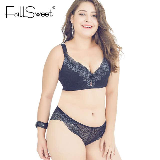 01a0f136c4 Online Shop FallSweet D E Cup Push Up Bra Set Plus Size Women Lace Lingerie  Set Underwire Underwear Sets Bras and Panty