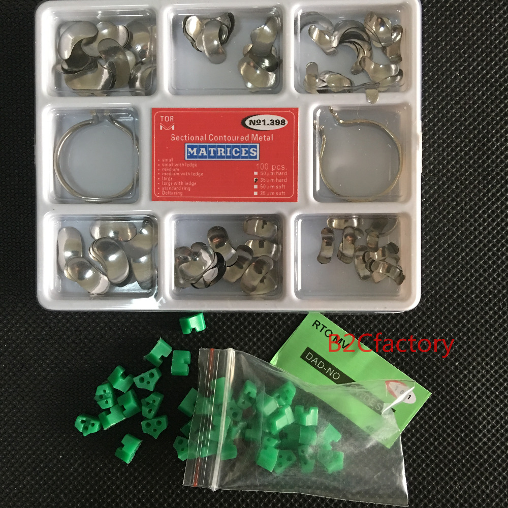 100Pcs Full Kit Dental Matrix Sectional Contoured Matrices +40 Pcs Silicone Add-On Wedges